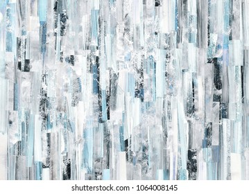 Abstract art background with white and blue stripes and teals. Acrylic texture on paper. Collage