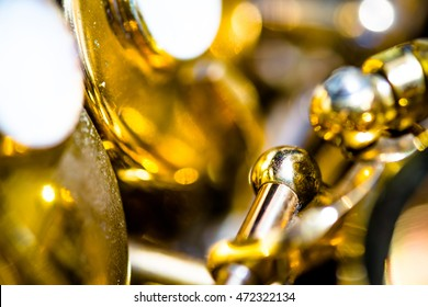abstract art of blurred Golden lacquer Alto saxophone
