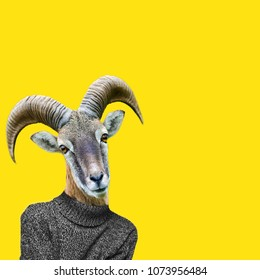 Abstract art collage. Big horn sheep on humans body, Ram head clip art.