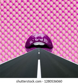 Abstract art collage. Concept Lips and road.