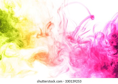 Abstract art. Colored smoke hookah on a white background. Background for Halloween. Texture fog. Design element. The concept of toxic substances.