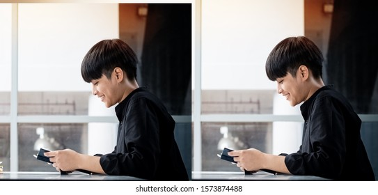 The abstract art design background of Asian teenager reading book with interested feeling,blurry light around - Shutterstock ID 1573874488