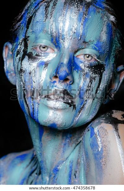 Abstract Art Makeup Face Neck Hair Stock Photo Edit Now