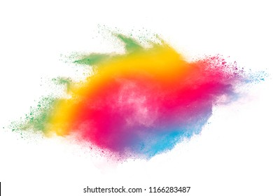 Abstract art powder painted on white background. Movement abstract frozen dust explosion multicolored on white background. Stop the movement of colored powder on white background.