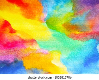 abstract art rainbow colorful watercolor painting background hand drawing