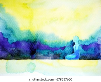 abstract art watercolor painting human meditating calm peace design hand drawn