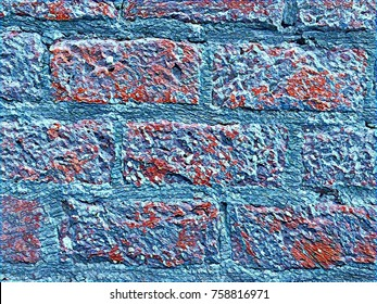 Abstract artistic background for custom design poster.Place text on textured backgrounds.Unique art loft interior wallpaper texture.Old grunge brick wall backdrop.Creative blue brick wall background
