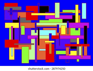 Abstract artistic composition of rectangles of color sharing spaces, abstract surrealism, artistic diagram of sets, colors red, yellow, blue, green, black and white,