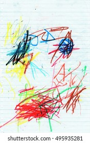Abstract Artwork of the Preschool Children - Abstract background draw with crayons