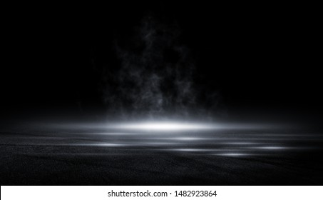 Abstract asphalt light in a dark empty street with smoke, Dark background scene of empty street night city.