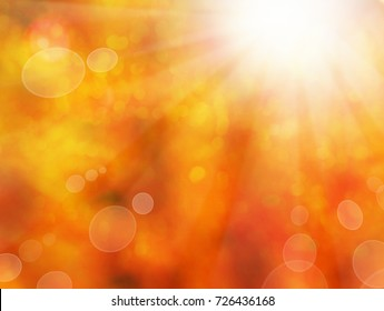 Abstract Autumn Background with Gold Bokeh. Fall Bokeh Background