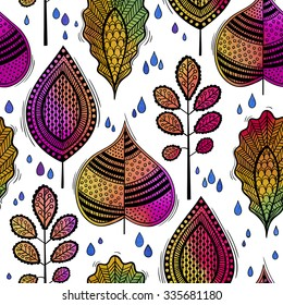 Abstract autumn seamless pattern with colored doodle leaves and raindrops. Watercolor background texture. Hand drawn
