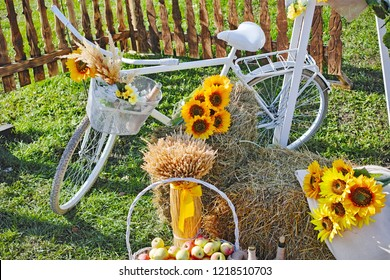 Abstract autumn still life with white bicycle and sunflowers