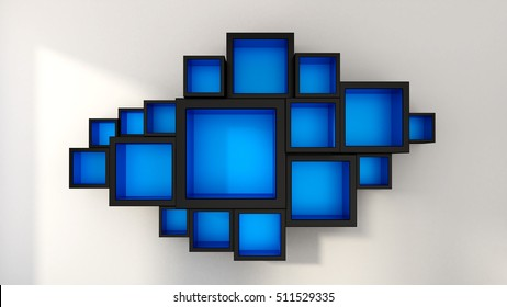 Abstract azure, white, banners, cubes, and cabinets. 3D illustration, 3D rendering.