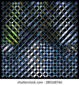 Abstract background 3d, glass, metal, mosaic. Tool for designers or idea for interior exterior wall, floor or Background for studio photography. Hand digital painting, illustration.
