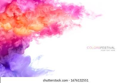 Abstrakter Hintergrund-Banner mit bunter rosa, violetter, orangefarbener und gelber Farbe in Wasser einzeln auf Weiß. Festival der Farben mit Beispieltext. Farbige Textur. Panorama der Farbexplosion