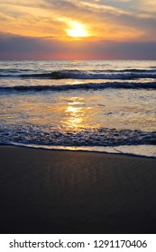 Abstract background of the beach during sunrise at Prachuap Khiri Khan province in Thailand.