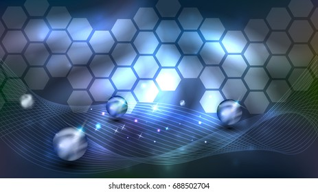 Abstract background with beautiful glow, cells, spheres and wave