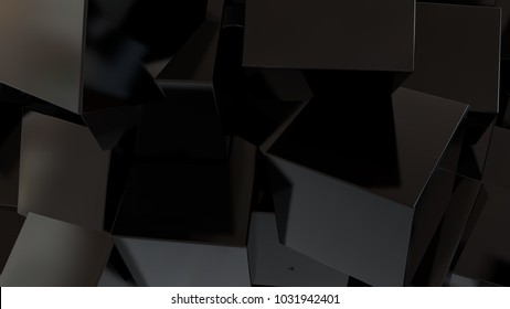 Abstract background with black cubes. Technology concept backdrop. 3d rendering digital background