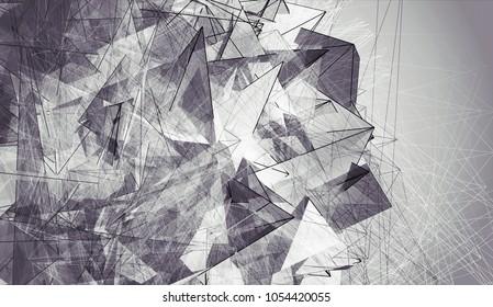 Abstract Background Black & White Polygonal. Beautiful Illustration.