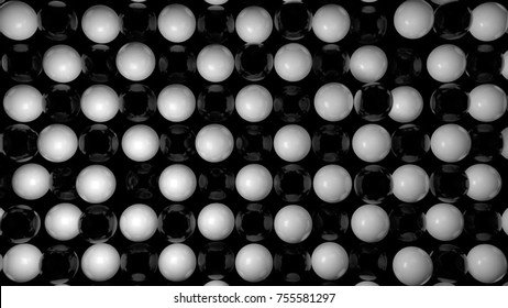 Abstract background with black and white spheres. 3d rendering