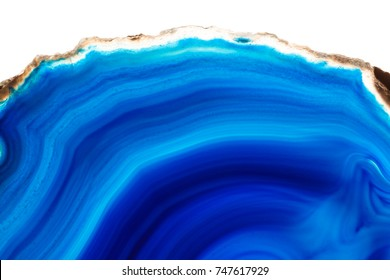 Abstract background - blue agate mineral cross section isolated on white background