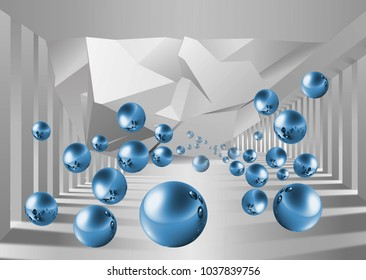Abstract background, blue balls on the background of the columns. 3D rendering..