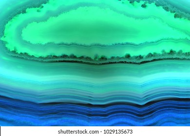 Abstract background, blue and green agate slice mineral