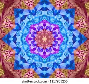 Abstract background blue kaleidoscopic illustration. Bright flower. Seamless pattern.