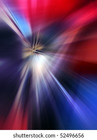 Abstract background in blue and red tones.