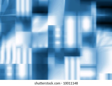 Abstract background of blue softly textured squares with gradients