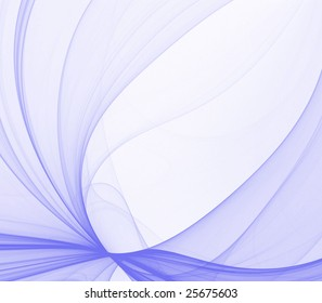 Abstract Background - Blue thin fabric textures flow and twist against white with copy space