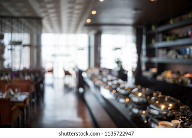 Abstract background and blur defocused Elegant and elegant dining room and beautiful interior details.