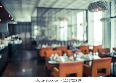 Abstract background and blur defocused Elegant and elegant dining room and beautiful interior details.Vintage Filter effect