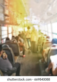 abstract background blur people on the bus in Thailand.