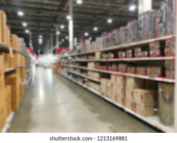 Abstract background blurred of aisle and shelves in superstore, department store.