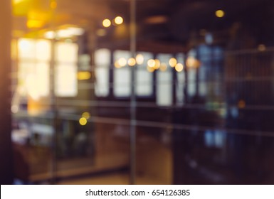 Abstract Background bokeh in sliding glass door Interior office blured, shallow depth of focus.