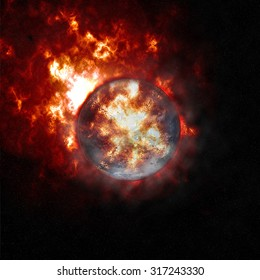 Abstract background of burning planet or sun. Apocalypse. Exploding planet