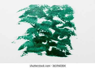 abstract background of chaotic green strokes of watercolor paint on white paper. Arbitrary direction strokes. Background illustration for design