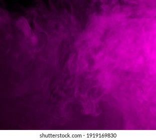 Abstract background of chaotically mixing puffs of purple smoke on a dark background