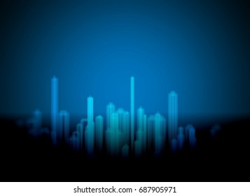 abstract background city drawing in blue light color