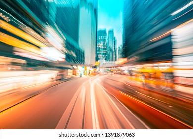 Abstrakter Hintergrund der Stadt in Bewegung unscharf