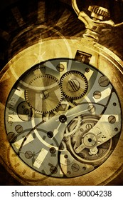 abstract background with clock mechanism