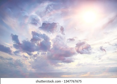 abstract background clouds on the sky with sun / sunset landscape background, watercolor light soft background