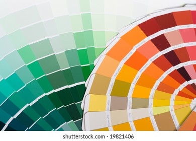 Abstract background of color swatches, color guides, close up.