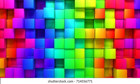 abstract background of colored cubes