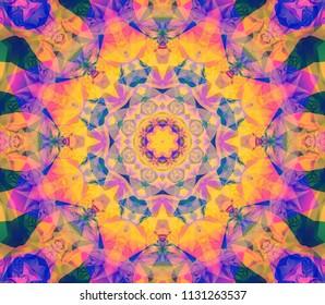 Abstract background colored kaleidoscopic illustration. Ornament mandala. Seamless pattern.