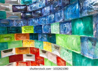 Abstract background from colored Murano glass blocks