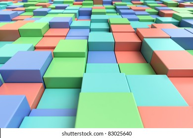 Abstract background of colorful cubic shapes of different heights.