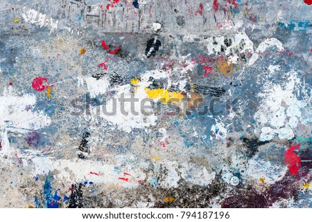Abstract background from colorful drop on floor. Art paint on wall for backdrop. Picture for add text message. Backdrop for design art work.